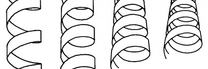 Hand-drawn_helix_ribbons_at_various_angles